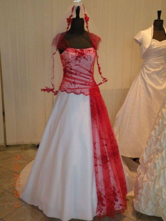Niewiarygodnie nietypowa suknia ślubna biało-czerwona + dodatki !!! - Tarnów YP73