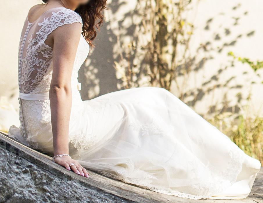 Piękna Suknia ślubna Annais Bridal Sandy Kremowa Rozm 38 Welon