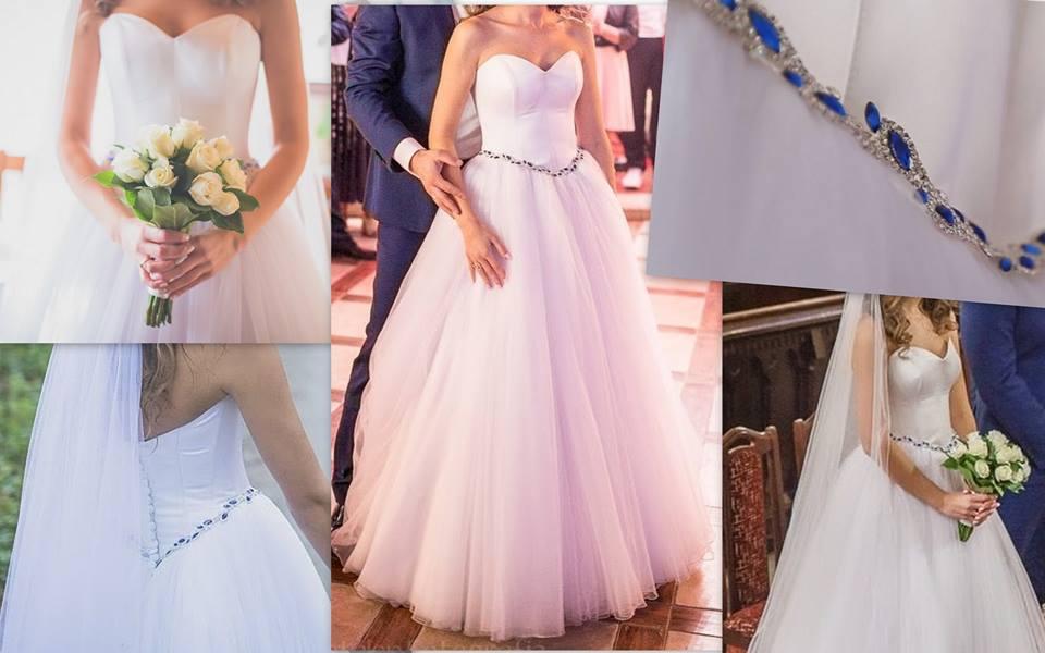 4a8c806535 Suknia ślubna Suknia Ślubna Kobaltowe Kryształki Patrycja Pardyka kolor   Śnieżna biel rozmiar  34